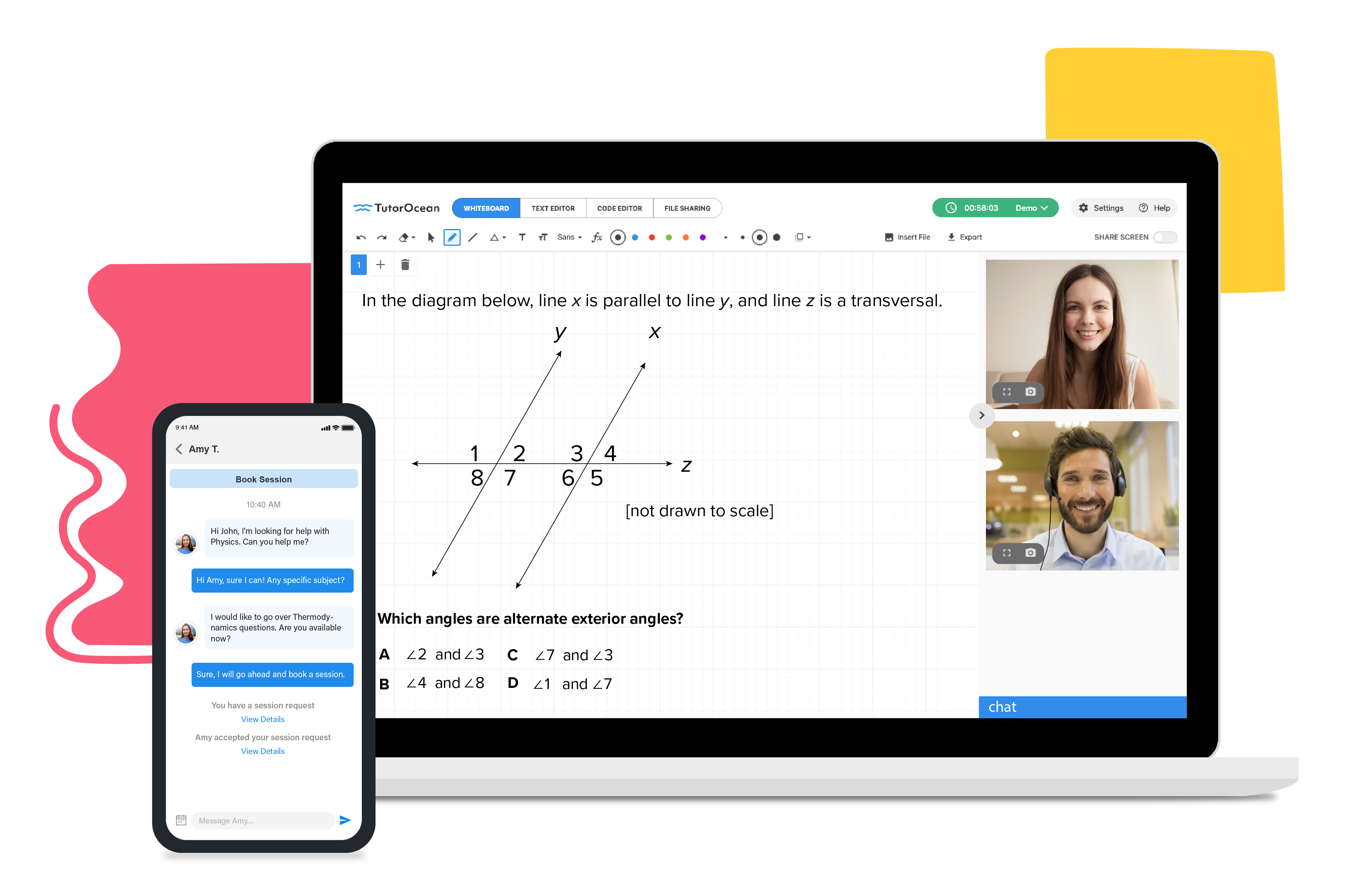 use TutorOcean's online classroom and app to connect with tutors around the world